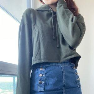 H&M's Divided Cropped sweatshirt darkgreen